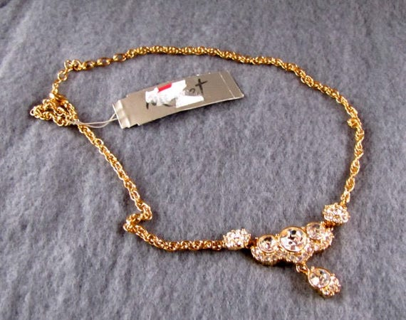 Rhinestone and gold Monet necklace with tag, vintage Cascade necklace 15 17