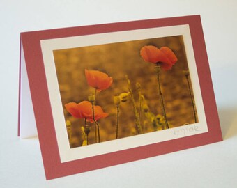 Retro sepia Poppy Greetings card