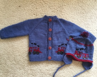 Custom made baby  cardigan sweater and hat set with trains