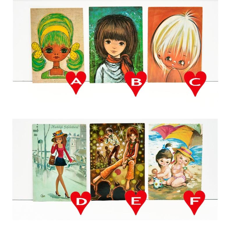 Vintage Mod Girl Postcards 1960/'s