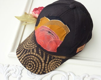 Hand painted baseball cap, black, metallic gold, artsy hat, visor, OOAK, hiking, beach, wearable art, sport hat, upcycled, women, streetwear