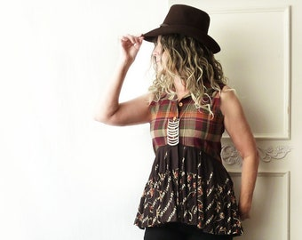 Upcycled Boho shirt tunic, orange brown plaid, button down top, brown high low babydoll, lagenlook, size small medium, sleeveless