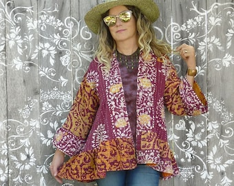 Vintage Kantha quilt high low jacket w ruffle, red and gold Batik floral, onesize up to 1X plus size, boho, hippie, bell sleeves