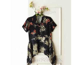 Upcycled recycled repurposed, Hawaiian shirt, FREE SHIPPING, small medium, Boho, asymmetrical tunic, Tommy Bahama, 100% silk, black