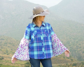Womens plaid shirt, aqua blue, size large, Boho, country chic, bell sleeves, button down, boyfriend shirt, hippie, FREE SHIPPING, upcycled