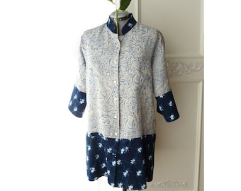 Oversize Hawaiian top, Kimono, batik floral print, shibori tie dye, artsy, beach, navy blue, boho, eco fashion, Plus size, upcycled, linen