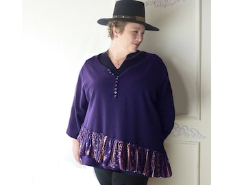 Plus size henley tunic top, purple asymmetrical tunic, size 26/28 W, gypsy, lagenlook tunic, cotton, v neck, 3/4 sleeves, FREE SHIPPING