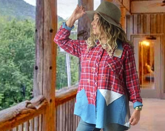 Flannel patchwork tunic shirt, upcycled clothing for women, red blue plaid stars, Medium to 1X, cowgirl, farmgirl, country chic, denim