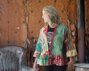 Vintage Kantha quilt jacket w ruffle, aqua & red mixed print, onesize up to 1X plus size, boho, hippie, bell sleeves