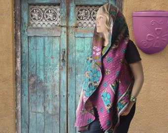 Reversible Vintage Kantha vest, magenta teal floral or green gold floral, one of a kind, cotton, onesize large to 2X, boho, hippie, hoodie