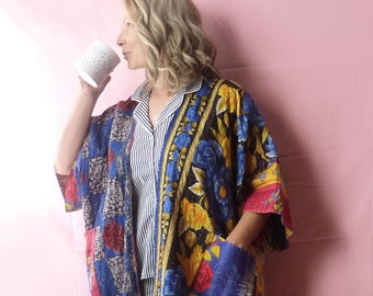 Vintage Kantha quilt kimono, blue red yellow floral roses, onesize plus size to 4X, hippie, ruana, patch pockets, robe