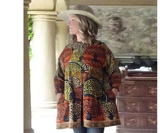 Vintage Kantha quilt jacket, lightweight, cotton, orange & black trees, onesize up to 1X plus, boho, hippie, patch pocket, tree of life