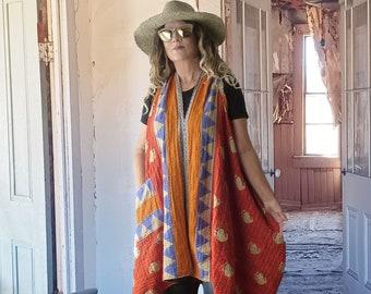 Reversible Vintage Kantha quilt maxi midi vest, orange blue tribal or green & pink floral, onesize up to 2X plus size, boho, hippie