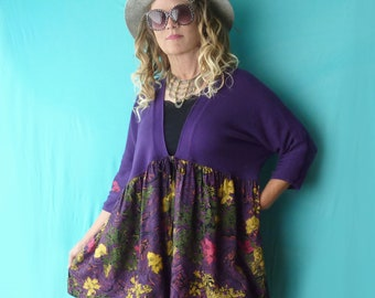 Plus size purple sweater w skirt, large, 3/4 sleeve, girly, boho, ooak, indie, floral babydoll, size 14 to 20, dolman batwing sleeve