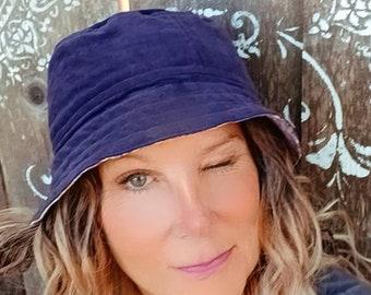 Reversible Kantha Corduroy Bucket hat, upcycled purple lilac floral, OOAK, beach, gardening hat, cruise hat, retro, fishing hat