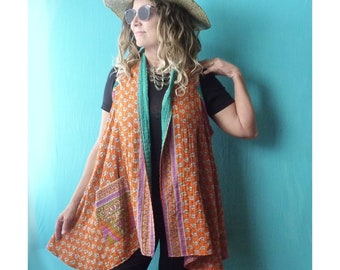 Reversible Vintage Kantha vest, orange or purple paisley, one of a kind, cotton, onesize large to 2X, boho, hippie, hoodie, patch pocket