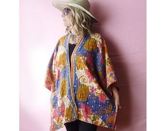 Plus size Reversible Vintage Kantha quilt kimono or ruana, blue orange & pink floral, onesize to 4X, hippie, bathrobe