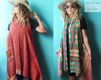 Reversible Vintage Kantha quilt midi vest, lightweight, red dot or teal pink diamond, onesize up to 2X plus, hippie, boho, patch pockets