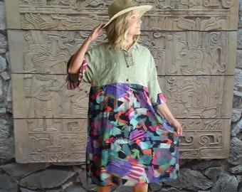 Plus size Oversize boho Midi loose dress, silk hawaiian w vintage Carole Little fabric, one of a kind, XL to 2X, upcycled, ruffle sleeves