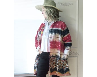 Vintage Kantha quilt duster jacket, knee length, red black & white tribal, tree of life, onesize up to 1X plus, boho, hippie, inset pockets