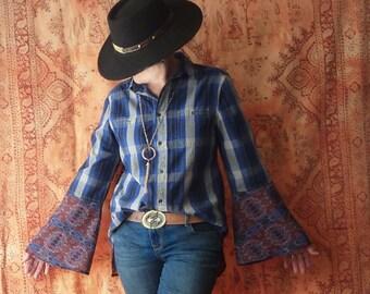 Womens plaid shirt, navy blue, medium, Boho top, country chic, bell sleeves, button down, boyfriend shirt, Upcycled  clothes, fall shirt