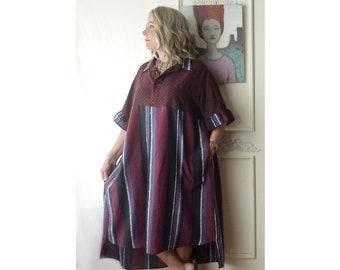 Plus size Midi loose shirt dress, cotton magenta stripe, empire waist, rayon shirt, one of a kind, onesize Large to 3X, upcycled clothing
