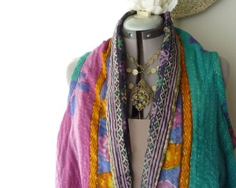 Reversible Vintage Kantha vest, turquoise purple floral, one of a kind, cotton, onesize large to 2X, boho, hippie, hoodie