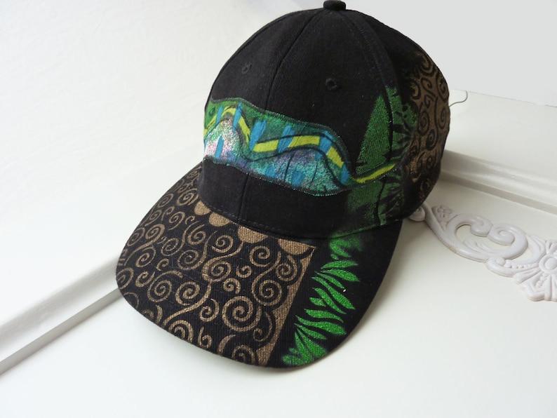 Hand painted baseball cap artsy hat visor OOAK hiking  be600f0ab0d