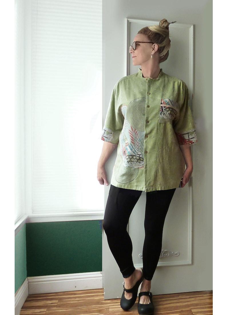 XL 1X Asian style top unisex mint green vintage silk Kimono eco fashion upcycled clothing for women Mandarin collar Japanese print
