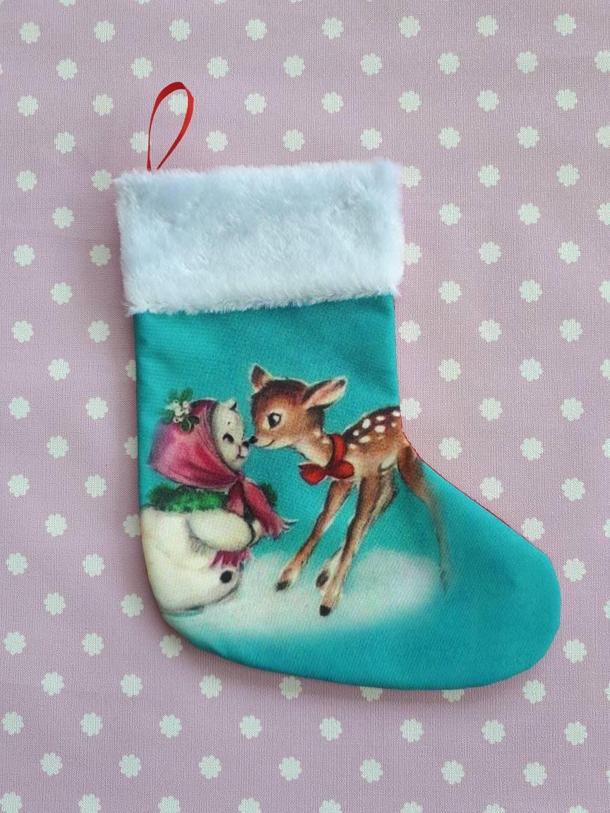 60578b47eae3 Kitsch vintage retro Kitschmas stocking deer fawn bambi 1950s