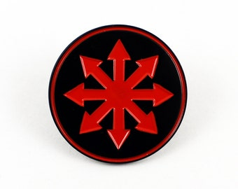 Chaos Star   1 1/4 Inch Soft Enamel Pin   Symbol of Chaos Eternal Champion Heavy Metal