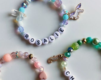 Magical charm name bracelet (unicorn, princess, mermaid)