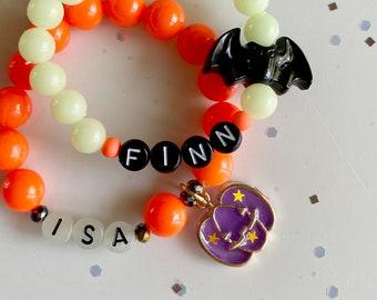 Halloween charm name bracelet (glow-in-the-dark!)
