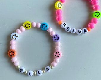 Happy faces beaded name bracelet