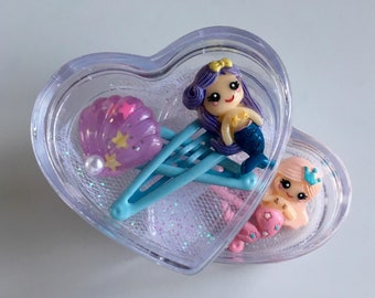 Pastel Mermaid + Shell Snap Clip Set