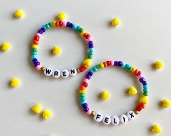 Rainbow seed bead name bracelet
