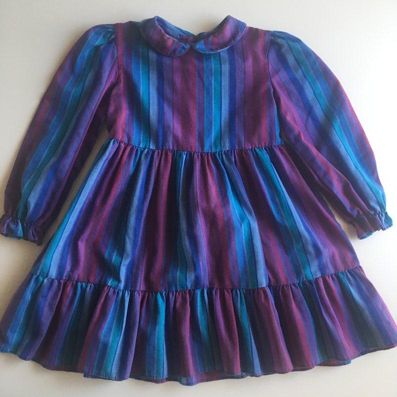 Vintage Polly Flinders purple blue rainbow stripe dress 5 image 0