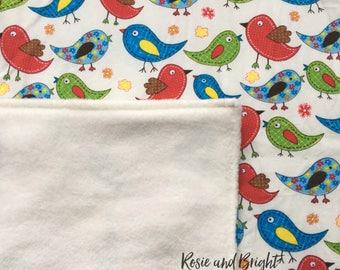 Bright Bird Baby Blanket: fleece backed cotton baby blanket