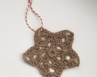 Rustic christmas decoration: hanging star