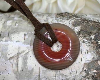 Warm----- Carnelian Donut Necklace