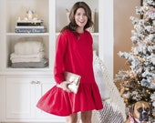 "Jillian Harris x ETSY ""Jilly Dress"" - Red Dress with drop-waist peplum and keyhole back"