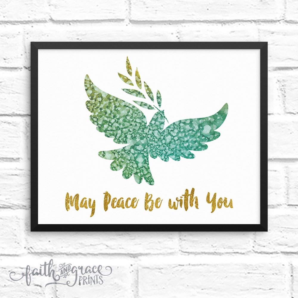 Peace Be With You Multicolored Watercolor Faith Based Etsy