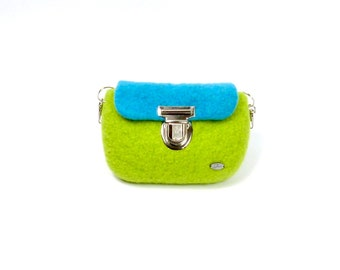 Felted belt bag in green and turquoise with hooks, rings and buckle