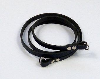 Leather pocket strap, shoulder bag strap in grey