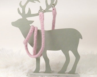 Powder, pink, felted, pocket strap, purse accessories, bag strap, meiTaschi, handmade