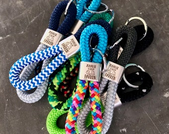 Key chain made of sail rope and silver colored key rings