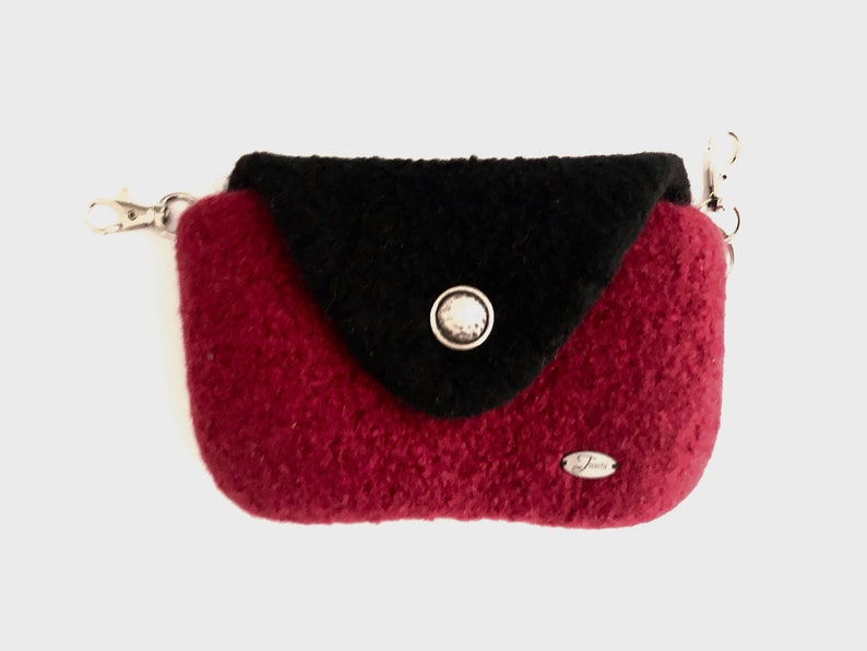 felted hip bag in dark red and and black colors small belt purse women fanny pack in dark red and black for the cell phone