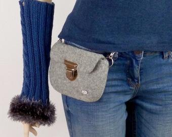 Grey waist bag, felted belt bag for women and men