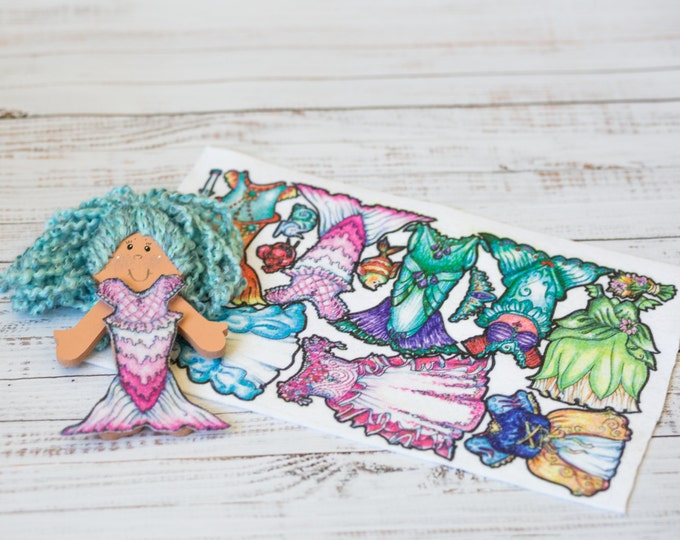 wooden doll, felt clothes, 7 in doll blue hair, 8 felt outfits, dress up dolls, paper dolls, quiet play, church toy, mermaid