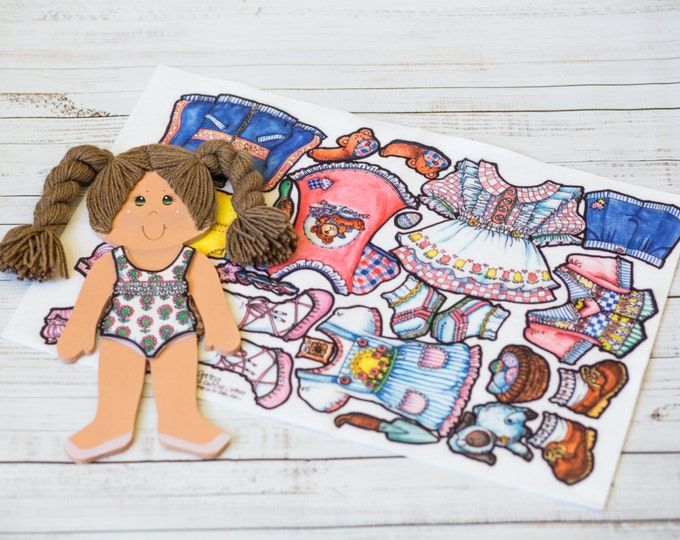 """wooden doll, felt clothes, 14"""" doll with light brown hair, 7 felt outfits, dress up dolls, paper dolls, quiet play, church toy, la-di-dolls"""